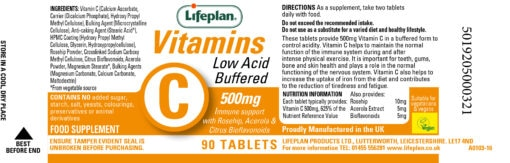 vitamin c low acid buffered 500mg label