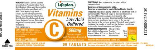 vitamin c low acid buffered 500mg label