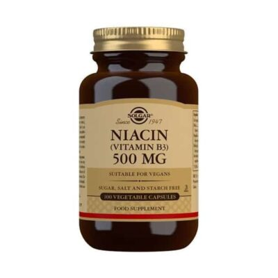 Niacin (Vitamin B3) 500 mg Vegetable Capsules - Pack of 100