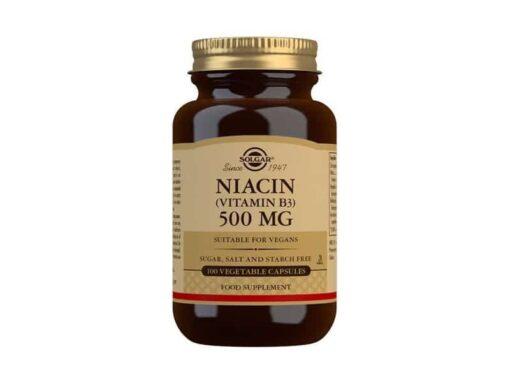 Niacin (Vitamin B3) 500 mg Vegetable Capsules - Pack of 100